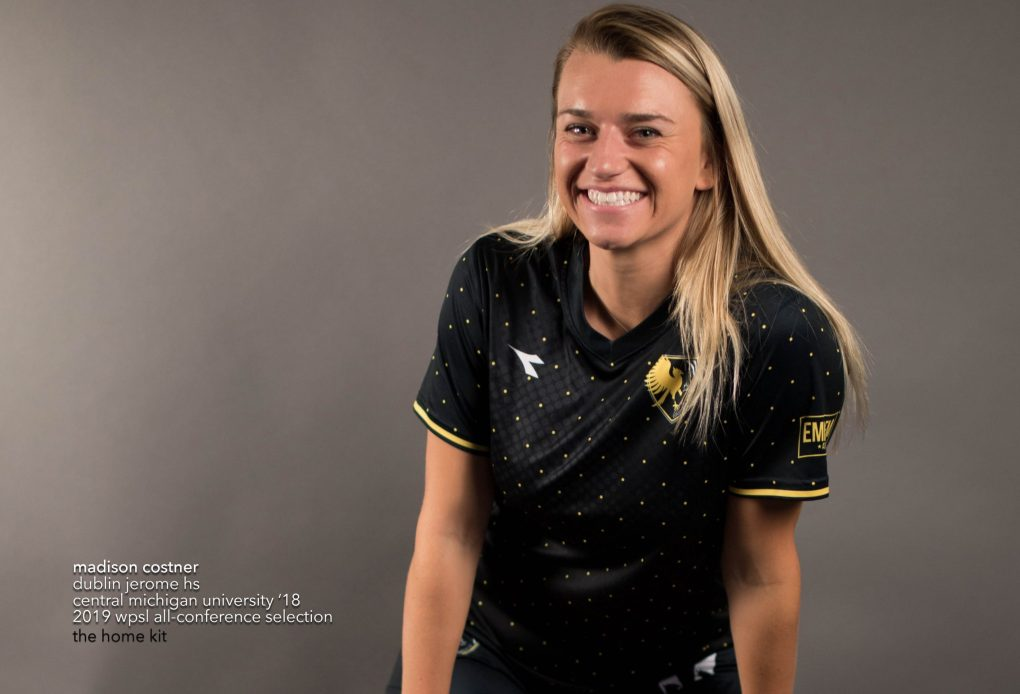 Madison Costner, sporting an Eagles 2019 matchday kit