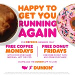 Free Coffee Mondays and Free Dunkin' Fridays with DD Perks