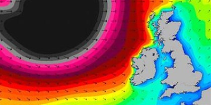 Image of weather map showing Atlantic storm hitting the UK.