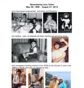 Larry Cohen's memorial album, a 2-page PDF