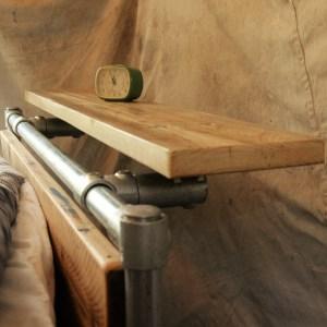 Mpdern rustic industrial scaffold board bed shelf alternative to bed side table