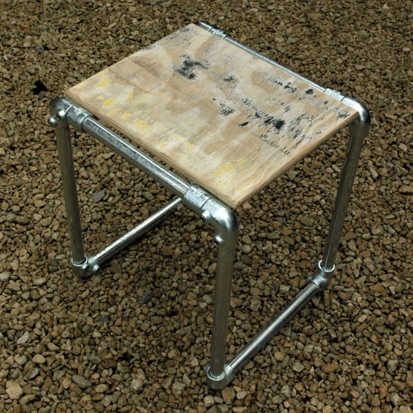 reclaimed site hoarding plywood and steel tube side table