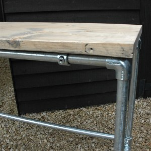 Solid scaffold board workbench with galvanised steel tube frame