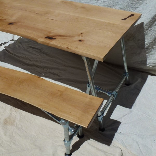 Beech Waney Edge Dining Table and Matching Bench