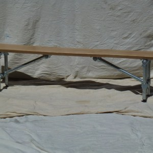 Steel Frame Dining Bench with Live Edge Beech Top