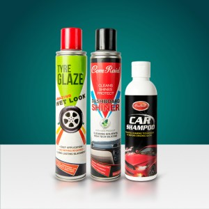 tyre glaze, dashboard shiner, car shampoo