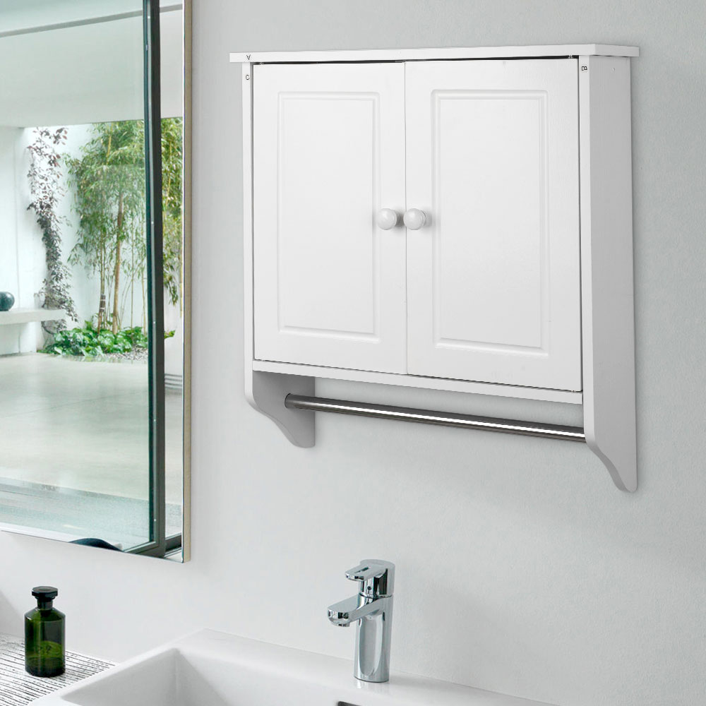 New White Wall Mounted Wooden Cabinet Doors Shelf Towel