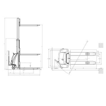 Apilador electro-manual de carga 1200 kg FCCC-14368