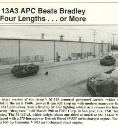 its a slide show of the may 1992 armed forces journal magazine which on page 70 shows a photo of an up engined m113a3 gavin beating an up engined m2  [ 958 x 825 Pixel ]