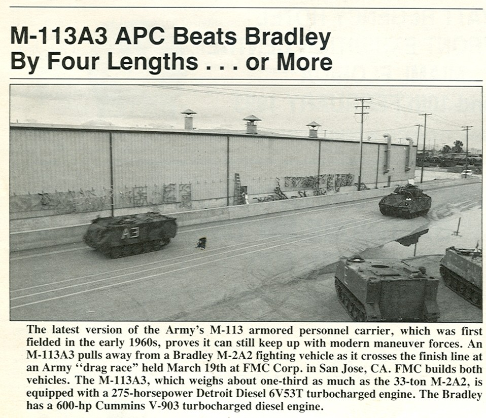 medium resolution of its a slide show of the may 1992 armed forces journal magazine which on page 70 shows a photo of an up engined m113a3 gavin beating an up engined m2
