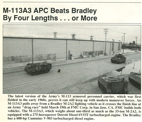 small resolution of its a slide show of the may 1992 armed forces journal magazine which on page 70 shows a photo of an up engined m113a3 gavin beating an up engined m2
