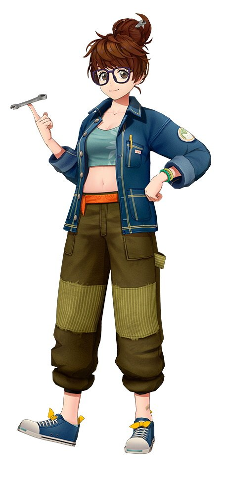 Character design from Delightworks' Nippon Dakkan, which depicts a woman with brown hair in a messy ponytail. She's wearing glasses and casual clothes as she twirls a wrench in her hand.