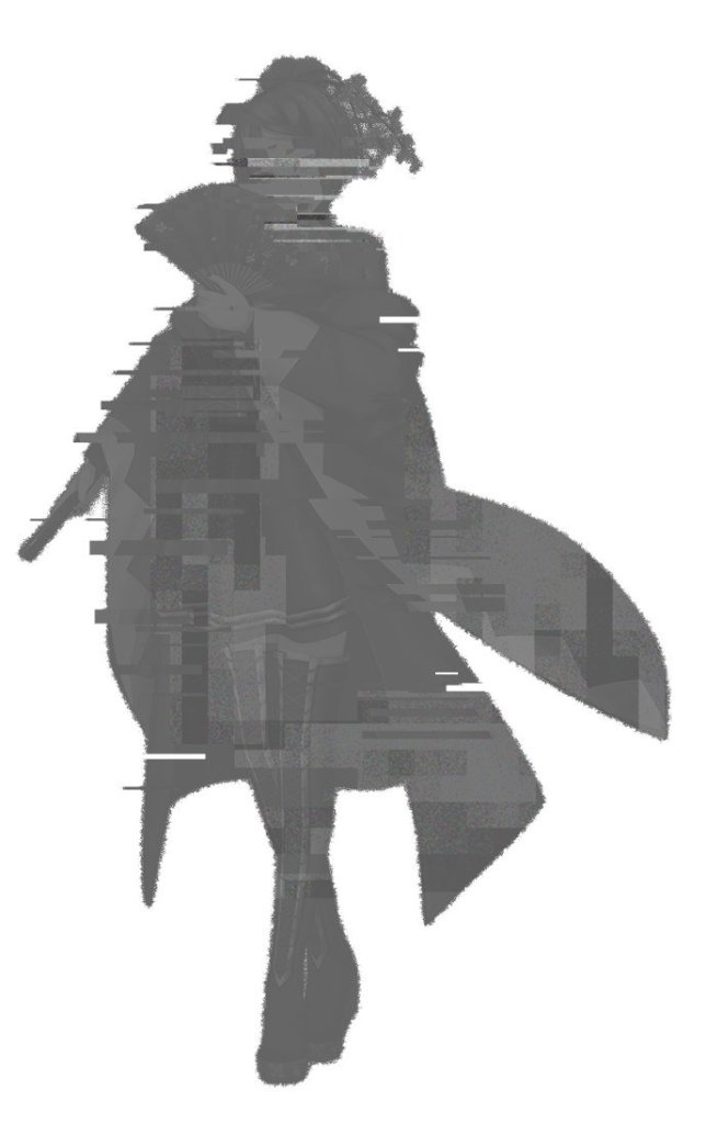 Character design from Delightworks' Nippon Dakkan, which depicts a greyed-out silhouette