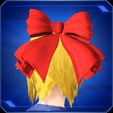 Shot of a woman's head from behind. Blonde hair is adorned with a red bow.