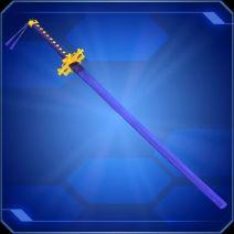 A sword in a blue scabbard.