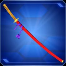 A sword in a red scabbard