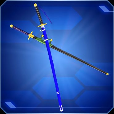 Two swords crossed, in their scabbards. One is in a black scabbard, the other in blue.