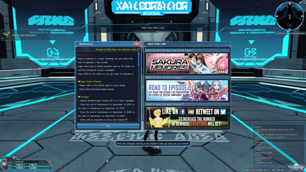 """An array of text boxes displayed at login for Phantasy Star Online 2. The top-right box features a girl with brown hair, as well as the text """"Sakura Memories"""""""