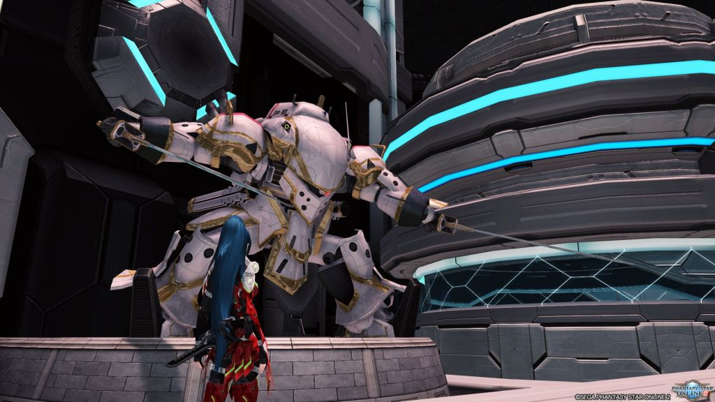 Rear shot of a woman who is looking at a giant white robot, which is wielding two swords.