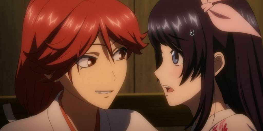 Hatsuho Shinonome smirks mischievously as Sakura Amamiya stands, stunned and blushing.