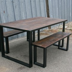 Industrial Dining Table And Chairs Director Chair Replacement Covers Bunnings Combine 9 Furniture  Reclaimed