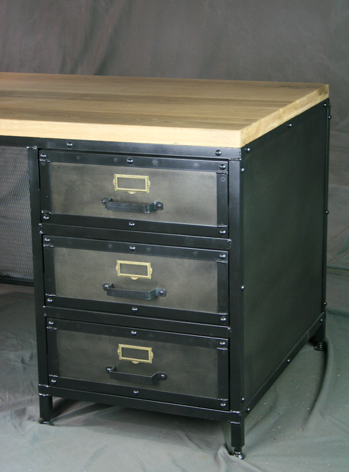 Modern Industrial Desk with Drawers  Combine 9