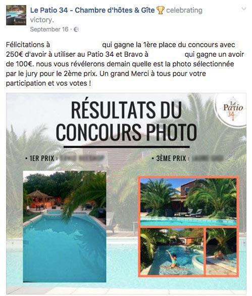 Post Facebook qui annonce les 2 gagnants d'un jeu concours
