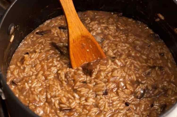 risotto de setas y champiñones listo