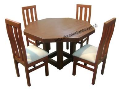 Juego comedor Mesa Octagonal pata central 4 sillas