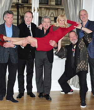 Monty Python - 21st November 2013. Image shows from L to R: Michael Palin, Eric Idle, Terry Jones, Carol Cleveland, Terry Gilliam, John Cleese.