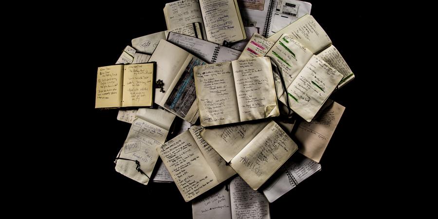Abigoliah Schamauns notebooks. Copyright: Tom Watts.