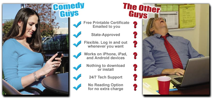 chart comparing comedy guys defensive driving course with other courses