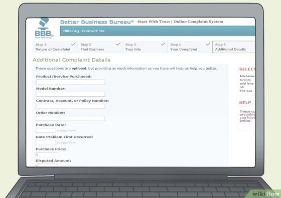 Immagine titolata File a Complaint With the Better Business Bureau Online Step 11