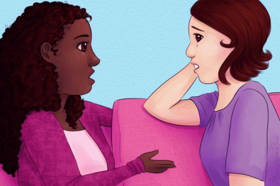 Immagine titolata Woman and Upset Friend with Down Syndrome.png