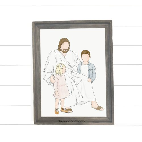 Jesus with Boy and Girl Print
