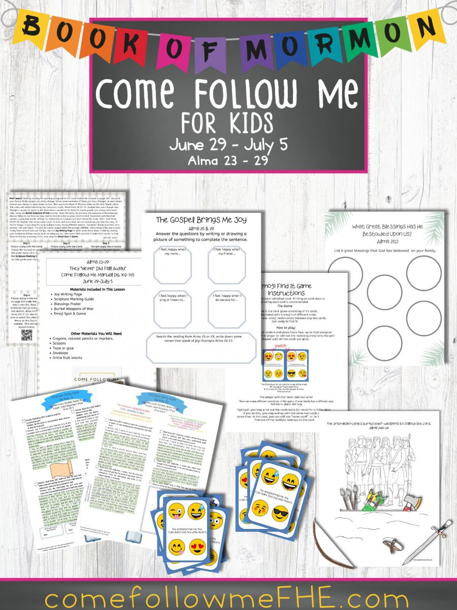 "June 29 - July 5 Come Follow Me Lesson for Kids: They ""Never Did Fall Away"" featured by Come Follow Me."