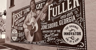 Jesse Fuller mural in downtown Jonesboro, GA