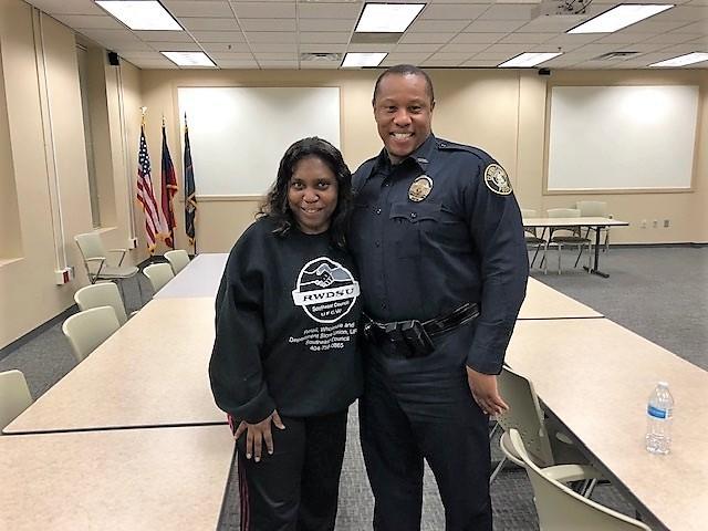 Carolyn Yancey and Officer David Portis