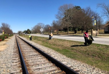 Residents picking up litter in Clayton County