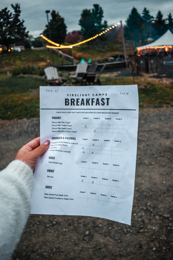 Breakfast Menu at Firelight Camps in Ithaca