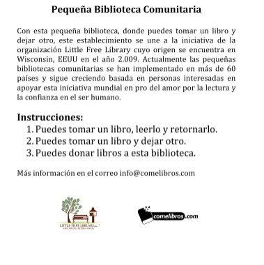 Instrucciones de la Pequeña Biblioteca Comunitaria