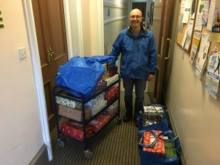 Derek, our Youth Worker delivering the shoeboxes