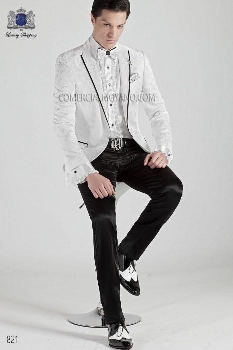 Italian white brocade men fashion suit ONGala