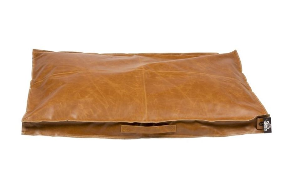 Leatherette block kussen Siesta caramelcognac
