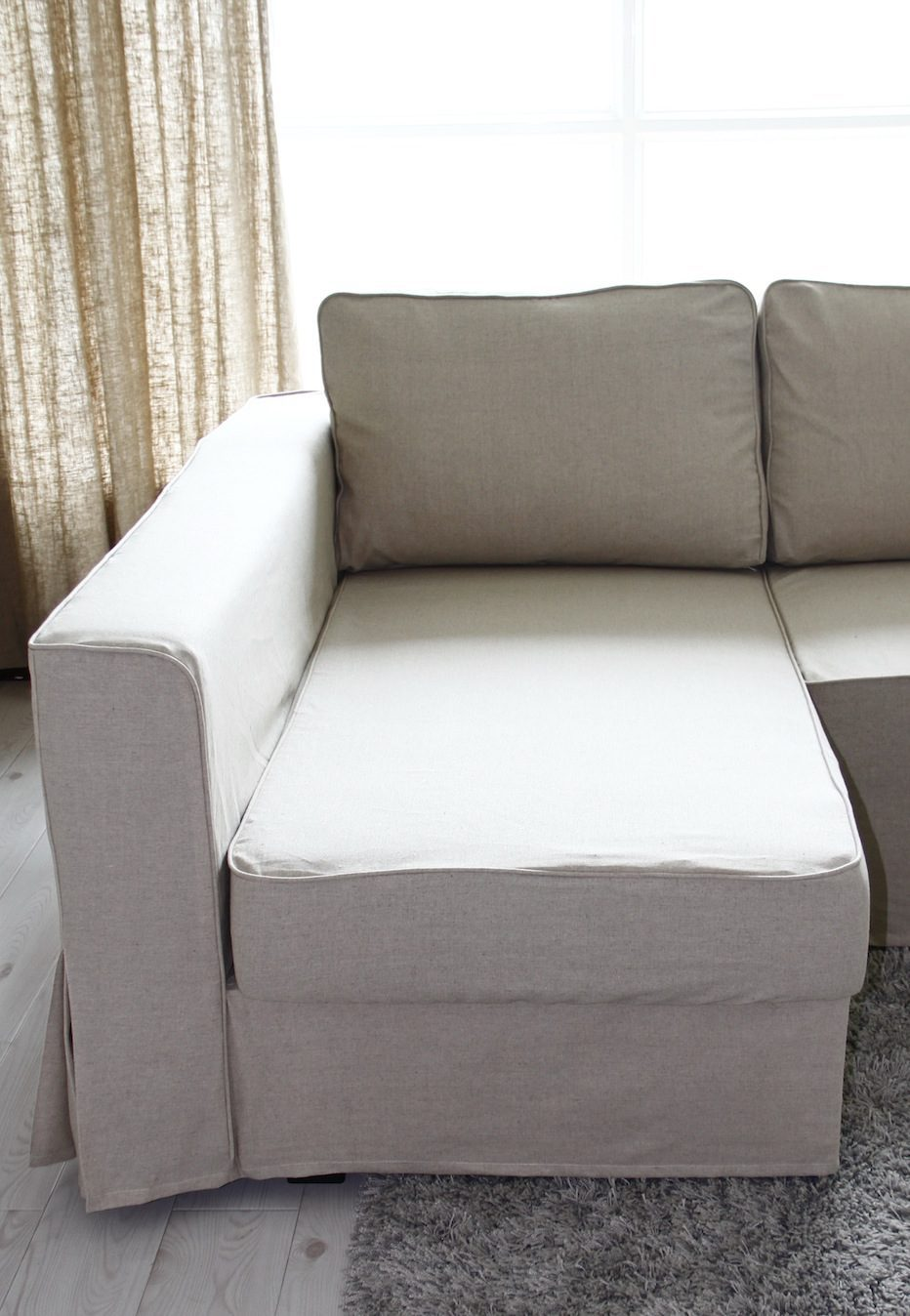 linen sofa slipcover custom sofas los angeles ca loose fit manstad slipcovers now available individual cover for the chaise s seat cushion allows access to storage