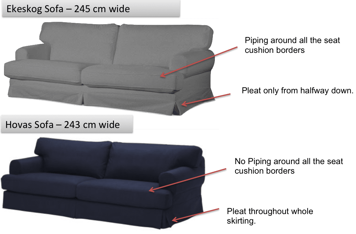 sofa versus couch lane benson queen sleeper hovas vs ekeskog differences can i fit the