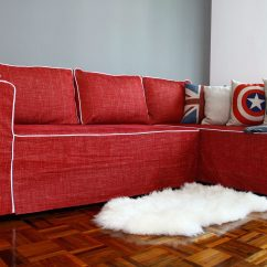 Ikea Couch Sofa Sectional Manstad Off White Microfiber Rise Of The Clones Friheten Moheda Lugnvik Basic Fit Slipcover From Comfort Works With Nomad Red Fabric Customized Contrast Piping