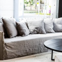 Off White Slipcover Sofa Dark Grey Velvet Living Room Beautify Your Ikea With Custom Long Skirt Slipcovers