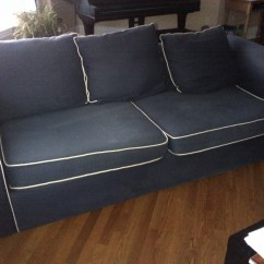 Navy Blue Velvet Sofa Canada Custom Sofas With White Piping Home The Honoroak