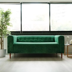 Emerald Green Sofa Covers Sage Slipcovers Tufting Klippan Hack Be With Envy